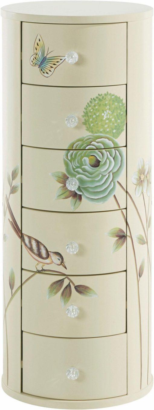 Przepiękna, ręcznie malowana komoda, okrągła