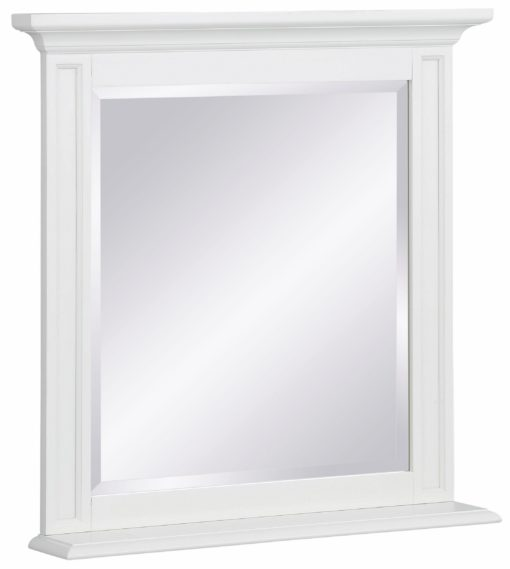 Masywne lustro z ozdobną, białą ramą