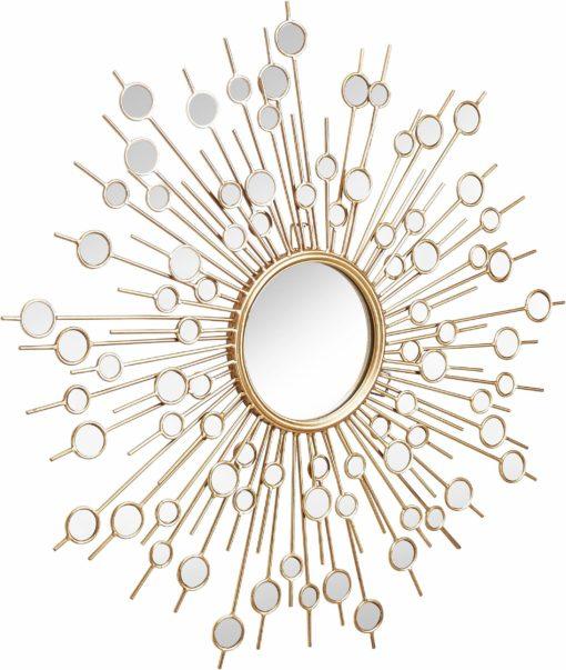 Wyjątkowe, złote lustro w kształcie słońca