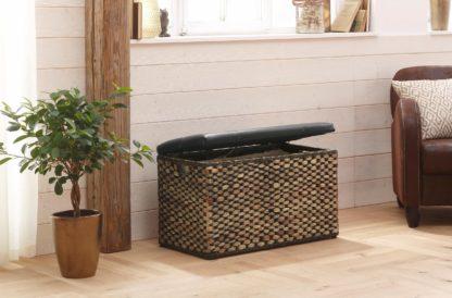 Ławka z hiacyntu wodnego z tapicerowanym siedziskiem