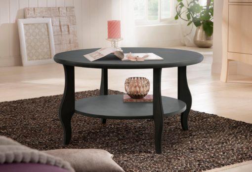 Okrągły, koloniany stolik w rustykalnym stylu