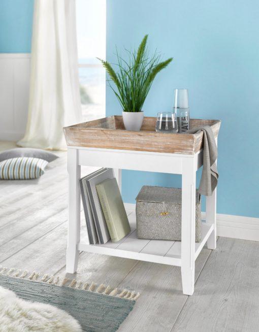 Wyjątkowy, mały stolik ze zdejmowaną tacą z drewna paulovnia