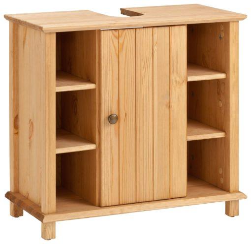 Drewniana szafka pod umywalkę z półkami