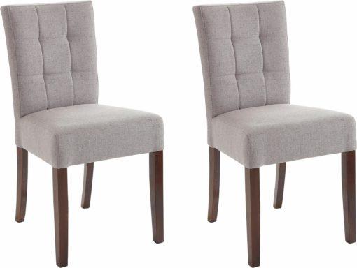 Eleganckie, tapicerowane krzesła, szare – zestaw 2 sztuki