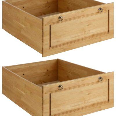Dwie sosnowe szuflady pod łóżko