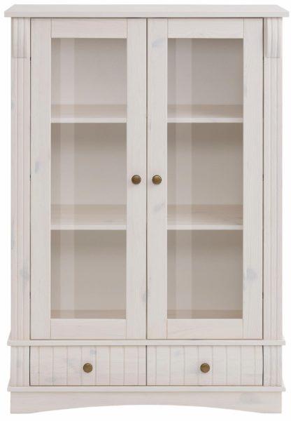 Wyjątkowa witryna z drewna sosnowego, biała