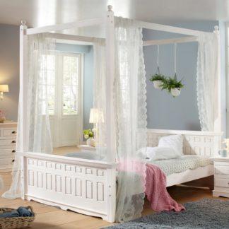 Wspaniała dekoracja łóżka, biały baldachim 180×200 cm