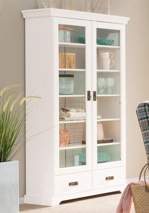 Przeszklona, biała witryna z dwiema szufladami