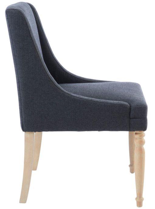 Antracytowy fotel z toczonymi nogami