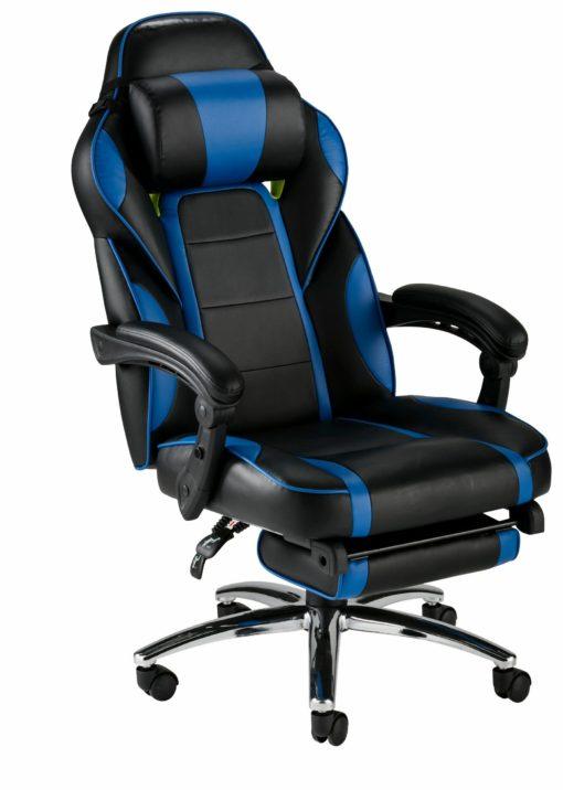 Wygodny fotel gracza z wysuwanym podnóżkiem