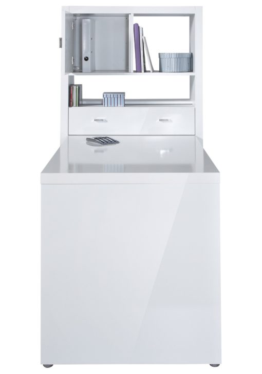 Nowoczesne biurko z półkami, biały połysk
