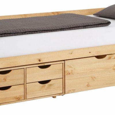 Sosnowe łóżko z szufladami 90x200 cm, olejowane