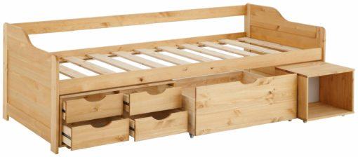 Sosnowe łóżko z szufladami