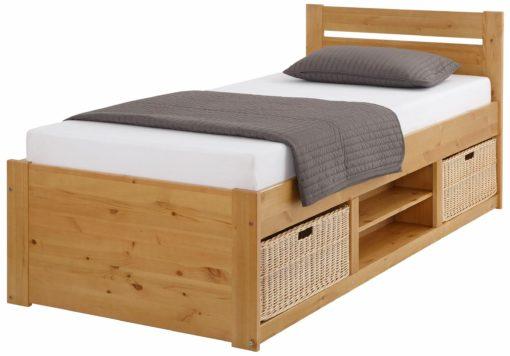 Sosonowe łóżko ze schowkami 90x200 cm