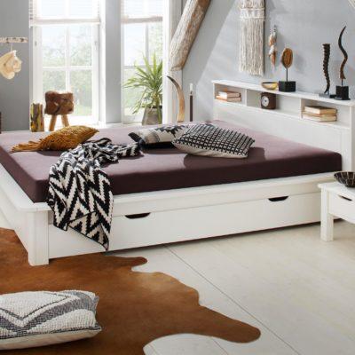 Białe łóżko z funkcjonalną półką140x200 cm