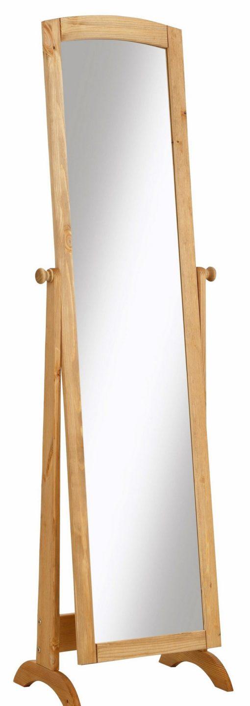 Duże, stojące lustro w sosnowej ramie