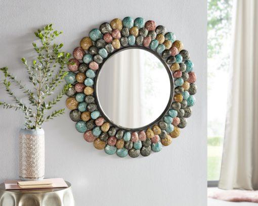 Okrągłe lustro w stylu vintage, z kolorową ramą