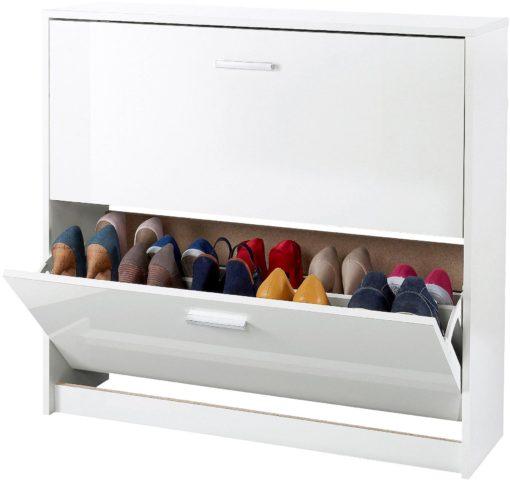 Biała szafka na buty z dwiema klapami