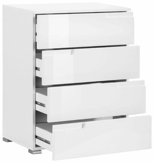 Biała komoda z czterema szufladami