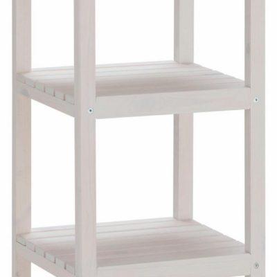 Minimalistyczny, drewniany regał, biały
