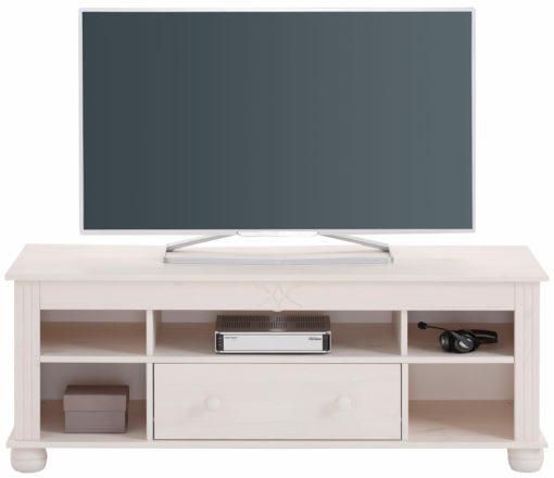 Piękna, sosnowa szafka RTV w kolorze białym