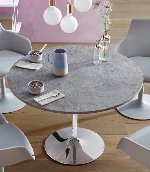 Okrągły stół z metalową nogą w kolorze betonu