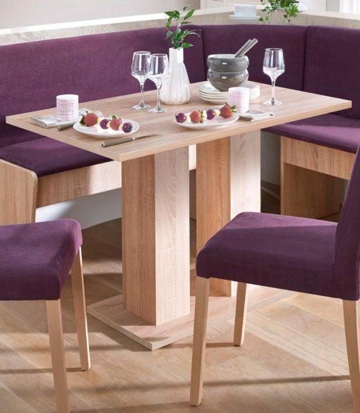 Purystyczny stół na dwóch, masywnych nogach