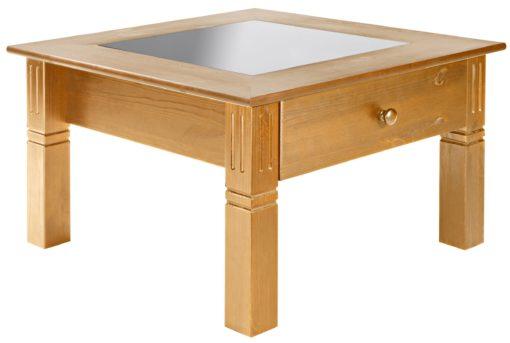 Uroczy, sosnowy stolik z szufladą