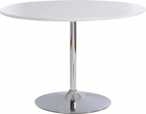 Okrągły, biały stół z metalową nogą