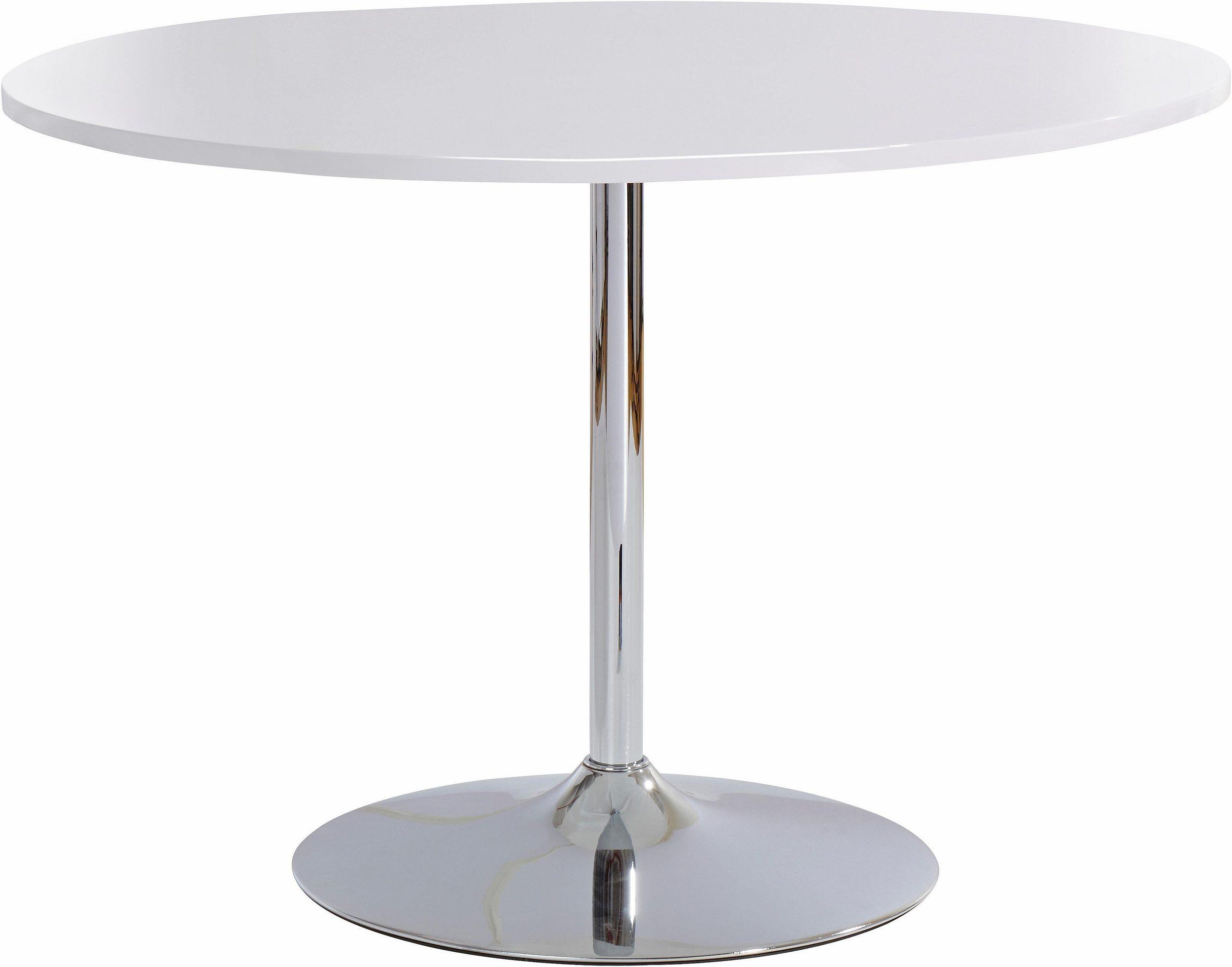 Unikalne Okrągły, biały stół z metalową nogą - Moders LL94