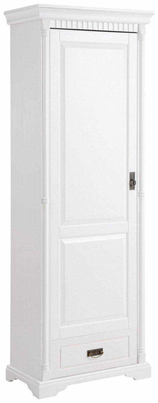 Sosnowa, biała szafa w stylu rustykalnym