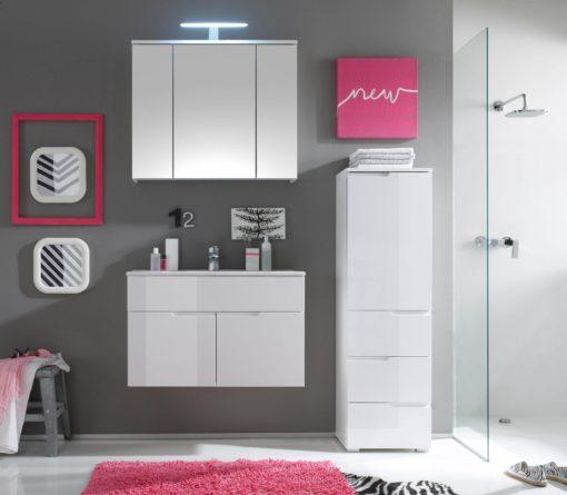 Funkcjonalna szafka łazienkowa, biały połysk