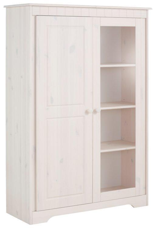 Biała witryna z sosny, przeszklone drzwi