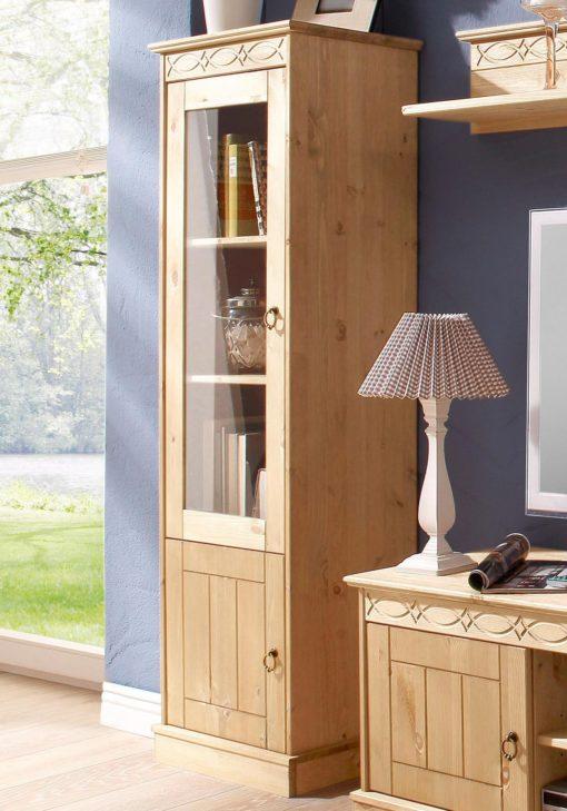 Atrakcyjna, zgrabna witryna z drewna sosnowego