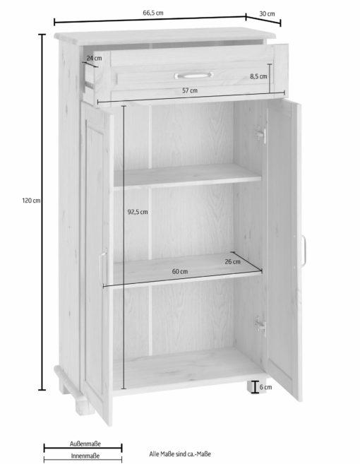 Sosnowa komoda z szufladą, w kolorze białym