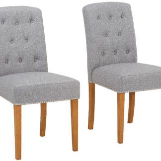 Eleganckie krzesła ze zdobieniami w kolorze szarym - 6 sztuk
