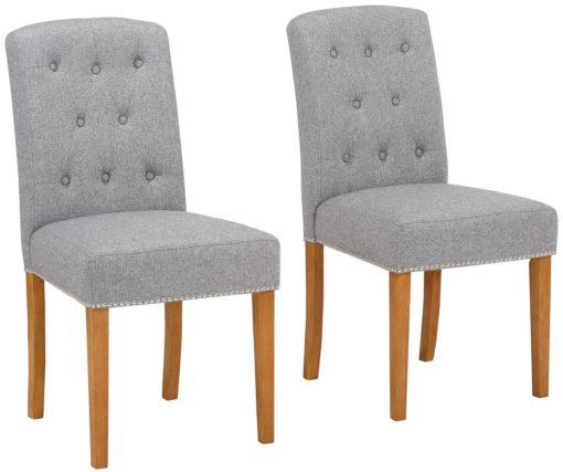 Eleganckie krzesła ze zdobieniami w kolorze szarym - 2 sztuki