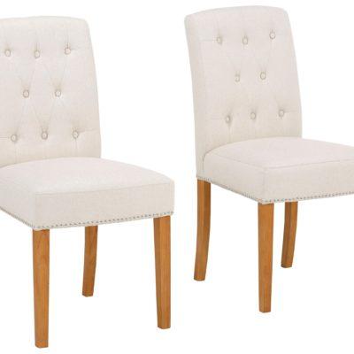 Eleganckie krzesła ze zdobieniami w kolorze kremowym - 4 sztuki