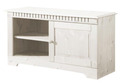Praktyczna, sosnowa szafka RTV w kolorze białym