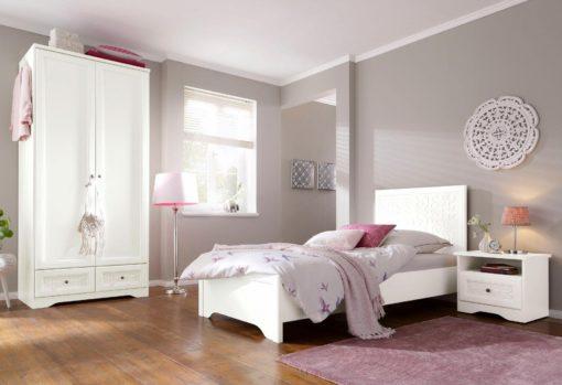 Pięknie zdobione, białe łóżko 90x200 cm