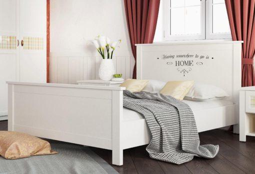 Białe łóżko 180x200 cm, z ozdobnym napisem