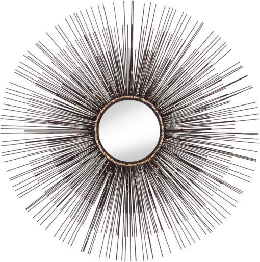 Okrągłe lustro w niezwykłej, metalowej ramie