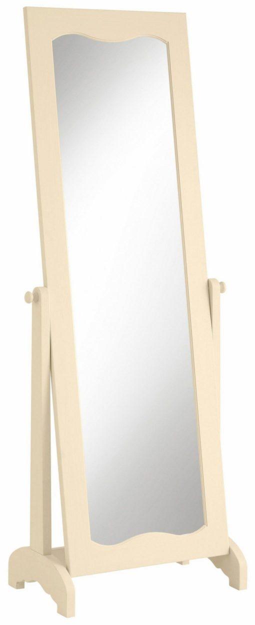 Atrakcyjne lustro stojące z kremową ramą