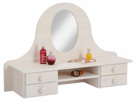 Sosnowa nadstawka na komodę z lustrem, biała