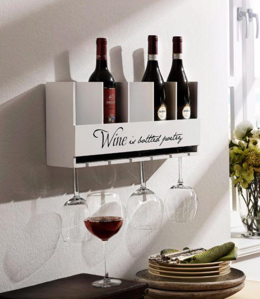 Ozdobna półka na wino i kieliszki