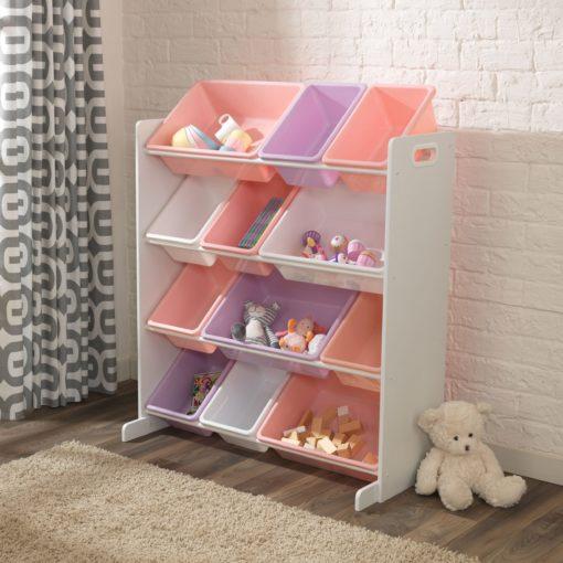 Kolorowy i praktyczny regał na zabawki dziecięce