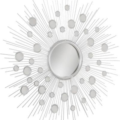 Wyjątkowe, srebrne lustro w kształcie słońca