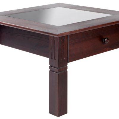 Uroczy, sosnowy stolik z szufladą, kolonialny