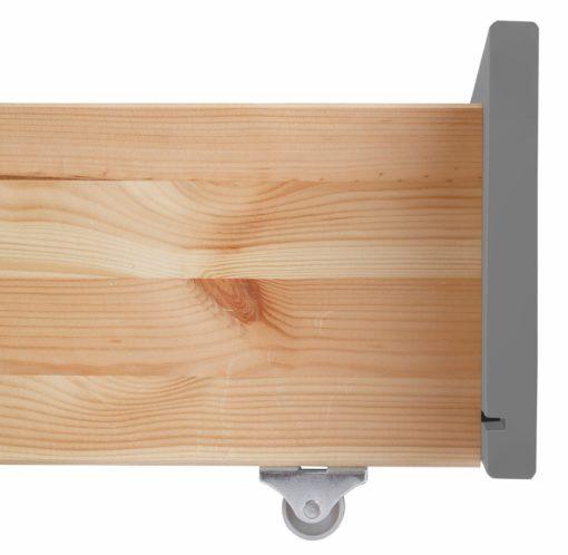 Przestronna szuflada pod łóżko,  front szary