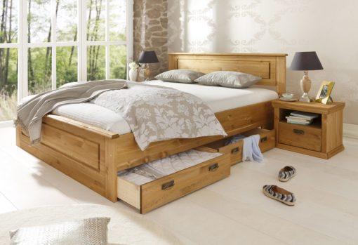 Zestaw eleganckich, sosnowych szuflad pod łóżko